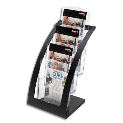 Porte-brochures Contemporary - 3 compartiments - format 1/3 de A4 - L17,1xH34,9xP15,6 cm - transparent