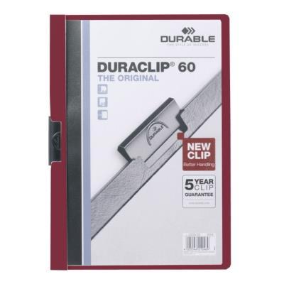 Chemise de présentation à clip Duraclip 60 - A4 - capacité 60 feuilles - rouge