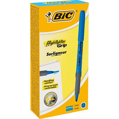 Surligneur Bic highlighter grip bleu brite liner Grip
