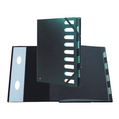 Trieur à élastique Exacompta Exactive Multipart A4 avec dos extensible à soufflets et fenêtres prédécoupées - 450 feuilles - 9 compartiments - 240 x 320 mm - polypropylène - noir