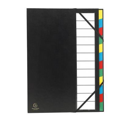 Trieur de bureau Exacompta - 12 compartiments - couverture balacron - format 24,3x32,8 cm - noir