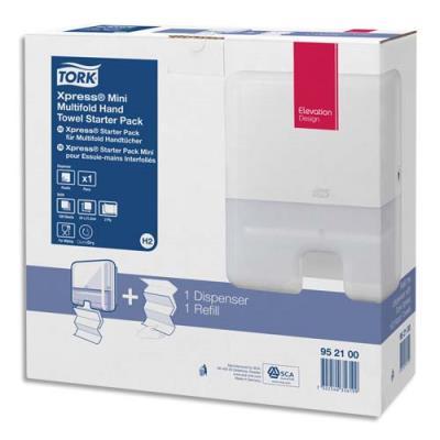 Pack H2 Tork Xpress Starter - distributeur essuie-mains mini + recharge interfoliés doux - 2 plis Z