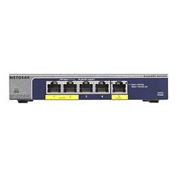 NETGEAR Plus GS105PE - Commutateur - Géré - 2 x 10/100/1000 (PoE+) + 3 x 10/100/1000 - de bureau - PoE+ (19 W)