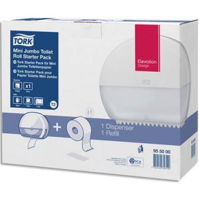Pack T2 Tork Starter - distributeur de papier toilette + recharge Premium mini Jumbo 170 m doux blanc