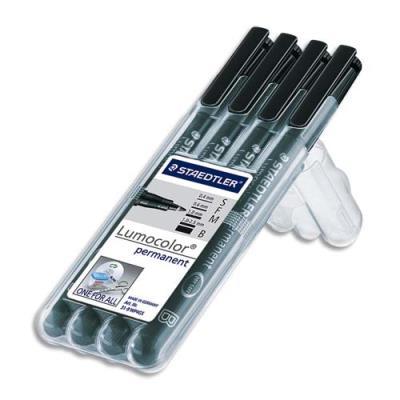 Pochette 4 feutres Stabilo Lumocolor pour retroprojection - pointes ass : superfine,fine,moyenne,biseautée - noir