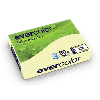 Papier couleur recyclé Evercolor - jaune canari - 80 g - A4 - ramette de 500 feuilles