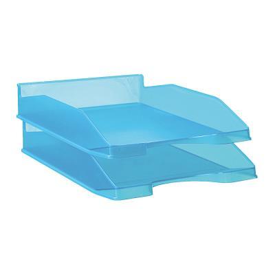 Bac à courrier - A4 - polystyrène - bleu translucide