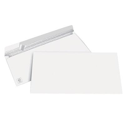 Enveloppe blanche Premium DL 210 x 110 mm 100g - sans fenêtre - bande autoadhésive - boîte 500 unités