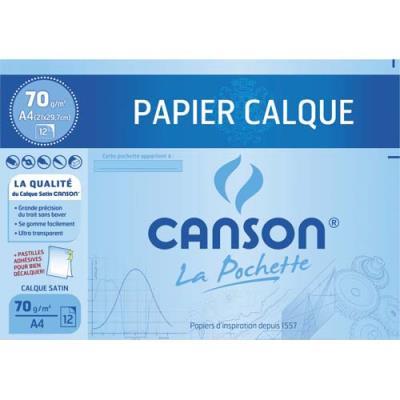 Pochette de 12 feuilles papier calque Canson satin - 70g  - A4  - livrée avec pastilles repositionnables (photo)