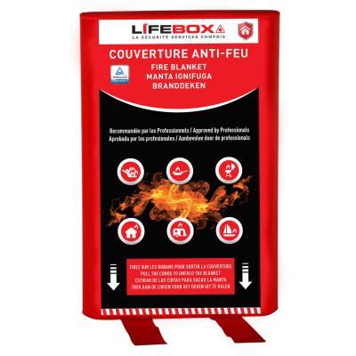 Couverture anti feu Lifebox - L1,2 x H1,2 m - étouffe le départ de flammes - gris
