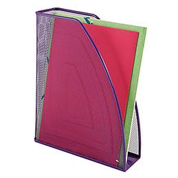 Porte revues en métal violet - dos 7cm - 26x33,5x8,3 cm - ligne Mesh (photo)