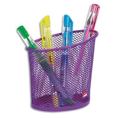 Pot à crayons en métal violet - ligne Mesh