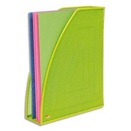 Porte revues en métal vert - dos 7cm - 26x33,5x8,3 cm - ligne Mesh (photo)
