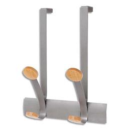Doubles patères et crochets de porte en métal et bois ajustable - Dim. L30 x H36,75 x P15,36 cm (photo)