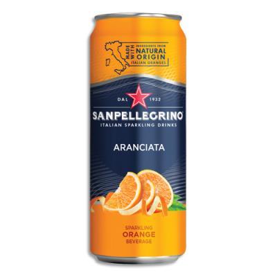 Jus pétillant aromatisé orange à base de concentré San Pellegrino - canette de 33 cl (photo)