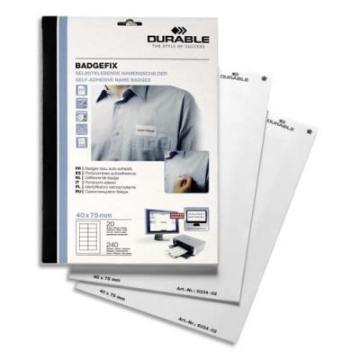 Boite de 240 badges adhésifs en tissu blanc Durable - format 4 x 7,5 cm - impression laser (photo)
