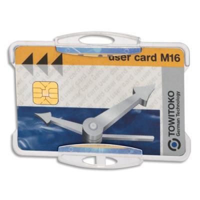 Badge de sécurité ouvert pour 1 carte - sans attache - format 5,4 x 8,4 cm - noir - boite de 10 (photo)