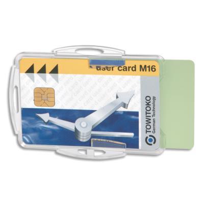 Badge de sécurité ouvert pour 2 cartes - sans attache - format 5,4 x 8,4 cm - noir - boite de 10 (photo)