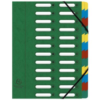 Trieur Exacompta Harmonika Nature Future avec dos extensible à soufflet et fenêtres prédécoupées 840 feuilles A4 24 compartiments 24 x 32 cm - carton vert
