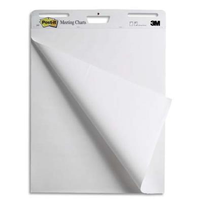Meeting-chart Post-It en papier blanc - format 63,5 x 77,4 cm - 30 feuilles - Lot de 2 + 1 gratuit (photo)