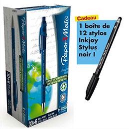 Pack de 30+6 stylos à bille rétractable Flexgrip bleu + 1 boite de 12 Inkjoy Stylus noir offerte (photo)