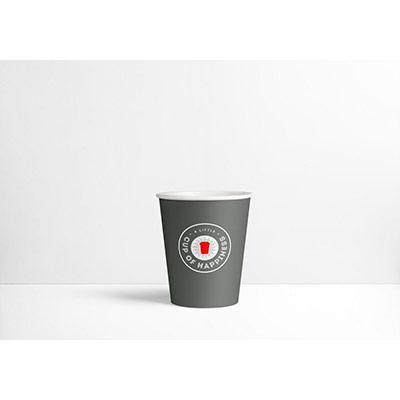 Gobelets en carton jetables - 250 ml - gris foncé avec logo imprimé - paquet 80 unités (photo)