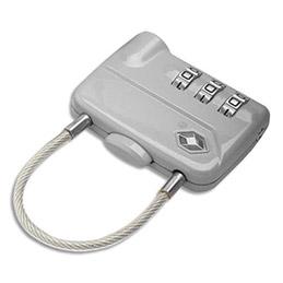 Cadenas à combinaison TSA avec câble en métal - 3 chiffres - 7,8 x 5 cm (photo)