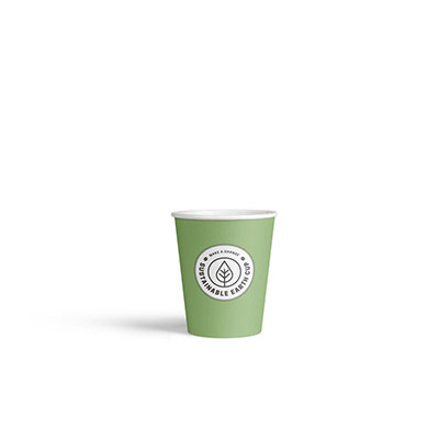 Gobelets en carton biodégradables et jetables - 200 ml - vert avec logo imprimé - paquet 100 unités (photo)