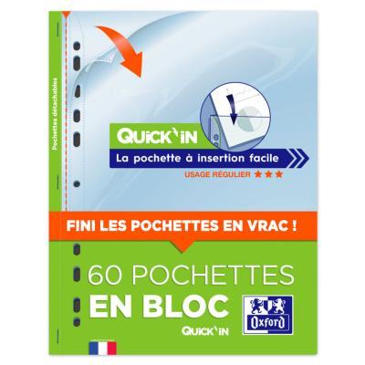 Pochettes perforées Oxford Quick'In A4 - en polypropylène lisse 5/100° - transparentes - bloc 60 feuilles