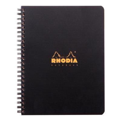 Cahier spirale Rhodia 16x21cm - 160 pages 5x5 perforées 4 trous - noire polypro