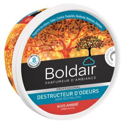 Gel destructeur d'odeurs Boldair - bois ambré - Pot de 300g