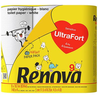 Papier toilette Ultra-Fort quadruple épaisseur - rouleau de 140 feuilles - blanc - paquet 9 rouleaux