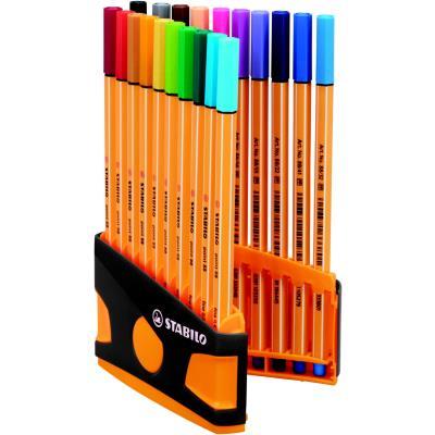 Stylo-feutre Stabilo Point 88 ColorParade - étui de 20 feutres pointes fines - 0,4 mm - couleurs d'encre assorties - boîte 20 unités
