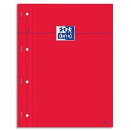 Bloc étudiant Oxford - agrafé côté -160 pages perforées - 80g - 22,5x29,7cm - seyès - Couverture carte enduite rouge (photo)