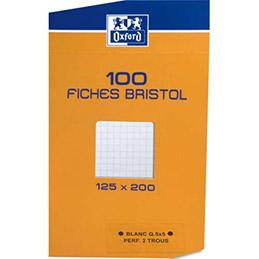 Boîte de 100 fiches Bristol Oxford - 12,5 x 20 cm - 5x5 - perforées 2 trous (photo)