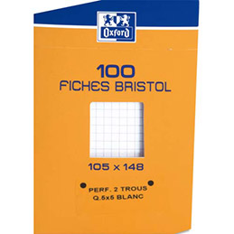Boîte de 100 fiches Bristol Oxford - 10,5 x14,8 cm - 5x5 (photo)
