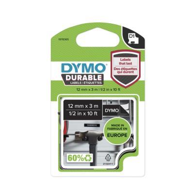 Ruban Dymo D1 durable - blanc/noir - 12 mm x 3 m