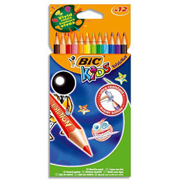 Etuis de 12 crayons de couleurs Bic Evolution - sans bois - coloris assortis (photo)