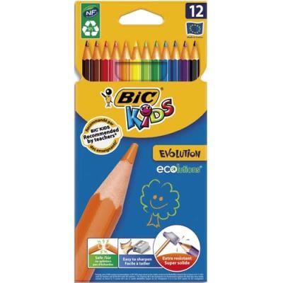 Etuis de 12 crayons de couleurs Bic Evolution - sans bois - coloris assortis