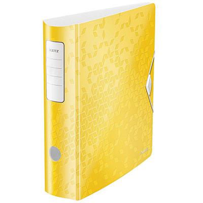 Classeur à levier Leitz WOW 180° - polypropylène - dos 7,5 cm - fermeture par élastique - jaune