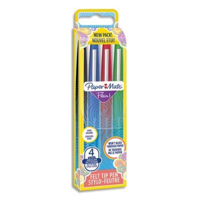 Papermate Nylon Flair - pochette de 4 - coloris standard : bleu, noir, rouge, vert
