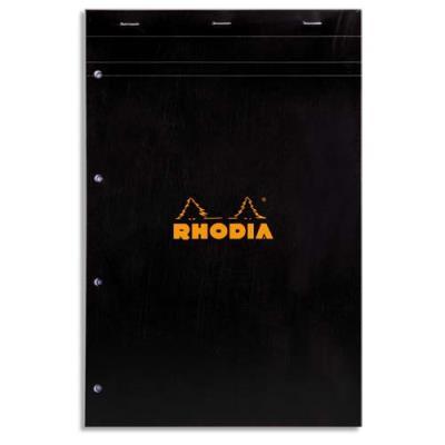 Bloc RHODIA N°20 agrafé - 160 pages perforées 80g - réglure 5x5 - 21x31,8cm - Couverture carte enduite noire