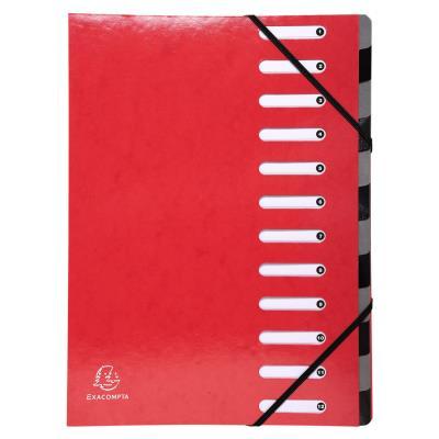 Trieur Exacompta Harmonika Iderama 12 compartiments - dos extensible à soufflet - capacité de 600 feuilles A4 - rouge