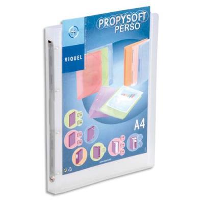 Classeur personnalisable VIQUEL PROPYSOFT - polypro7/10ème - 4 anneaux - dos de 35 mm - incolore