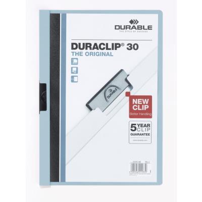Chemise de présentation à clip Duraclip A4 - capacité 30 feuilles - coloris bleu clair