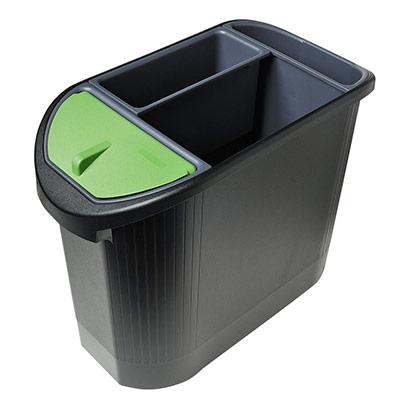 Corbeille à papier Top line Exacompta Ecologic 26 l ovale - tri sélectif 3 compartiments- noir/anthracite