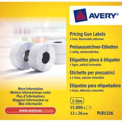 Boîte de 10 rouleaux de 1500 étiquettes Avery PLR1226 pour pince à étiquetter - 1 ligne (8 caractères) - blanches - adhésif amovible (photo)