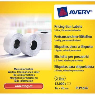 Boîte de 10 rouleaux de 1200 étiquettes Avery PLP1626 pour pince à étiquetter - 2 lignes (10+ 8 caractères) - blanches - adhésif permanent (photo)