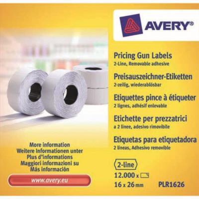 Boîte de 10 rouleaux de 1200 étiquettes Avery PLR1626 pour pince à étiquetter - 2 lignes (10+ 8 caractères) - blanches - adhésif amovible (photo)