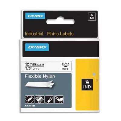 Ruban Dymo Rhino 12 mm flexible nylon noir sur blanc 18488